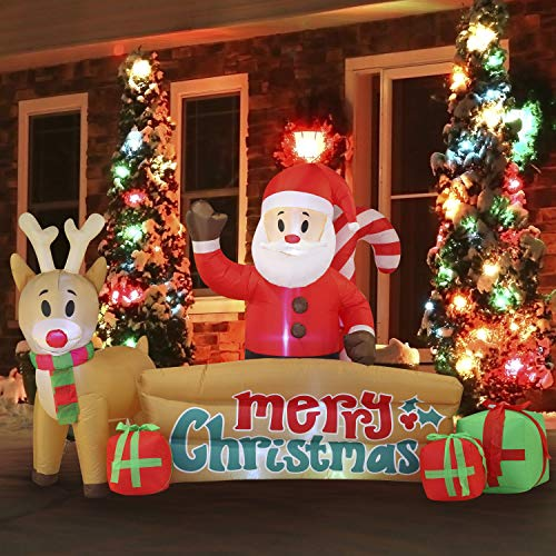 10 FT Long Xmas Sante Merry Christmas Sign Inflatable with Build-in LEDs Blow Up for Indoor Outdoor Yard Garden Party Lawn Winter Decor.