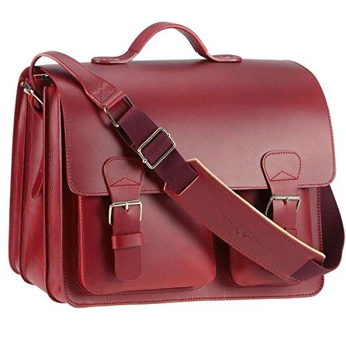 Ruitertassen Lehrertasche Leder 40cm XL 3 Fächer Schultasche Aktentasche rot Damen