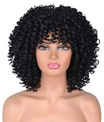 Goodly Short Afro Wigs For Black Women Black Afro Curly Wigs with Bangs Synthetic Kinky Curly Hair Wig Heat Resistant Full Wigs (Black)