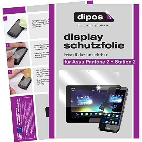 dipos I 6x Schutzfolie klar kompatibel mit Asus Padfone 2 + Padfone Station 2 Folie Bildschirmschutzfolie (4x Vorder- und 2x Rückseite)