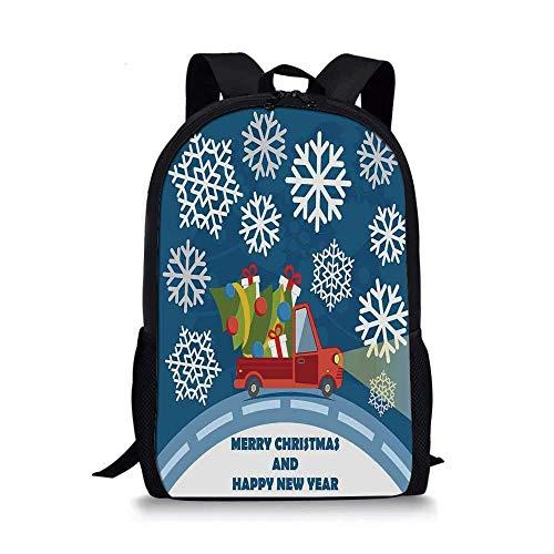 AOOEDM Elegante Bolso Escolar navideño, Feliz año Nuevo Camión Feliz Navidad con Cajas de Regalo Árbol y Arte de Copos de Nieve para niños, 11