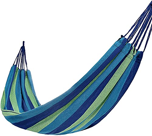 Portable Single Casual Camping Hammock Neck Relief Rope Swing Chair Cotton Soft Sleeping Portable with Carrying Bag for Patio Yard Garden Backyard Porch Travel 190X80Cm,Red Lightwei ( Size : Blue )