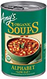 Twelve 14.1 oz. non-BPA cans of Amy's Organic Alphabet Soup the whole family will love Sweet tomato broth, tender veggies and semolina flour pasta letters Flavorful soup that is a favorite with kids Fat Free, Vegan, Certified Kosher, Dairy and Lactos...