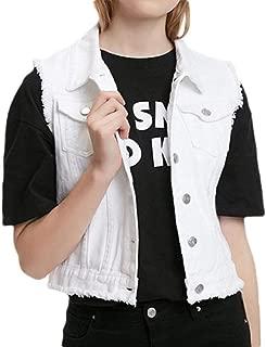 Howely Women's Skinny Cropped Casual Raw Hem Buckle Washed Denim Jacket Vest