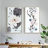 MYBHGRFDG Impresión de Estilo Chino Abstracto Koi Fish Lotus Pintura Lienzo póster Feng Shui Cuadro de Arte de Pared para Sala de Estar decoración de Oficina en casa | 40x80cmx2 sin Marco