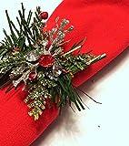 Servilletero navideño Servilletero navideño rojo Servilletero plateado Mesa...