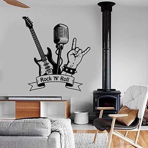 JXFM Rock N rol sticker muziek rok gitaar microfoon bar muziekkamer decoratie binnen vinyl muursticker Cool 42 x 46 cm