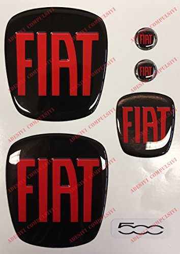 Logo Fiat 500 Anteriore, Posteriore + Volante + 2 Stemmi per Portachiavi. per Cofano e Baule. Adesivi resinati, Effetto 3D. Fregi Colore Nero-Rosso