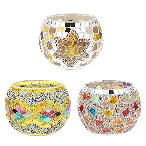 SOLUSTRE 3 Pcs Mosaic Glass Candle Holder European Romantic Cracked Aromatherapy Tealight Candlestick Stand for Home Party Decorations