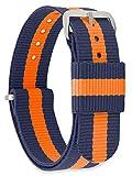 MOMENTO Cinturino Nato per Orologio Uomo Donna con Fibbia in Acciaio Inossidabile in Argento e Tessuto Nylon in Blu Arancio 22mm