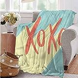Luoiaax Xo Children's Blanket Pop Art Style Retro Vibrant Lightweight Soft Warm and Comfortable W70 x L84 Inch