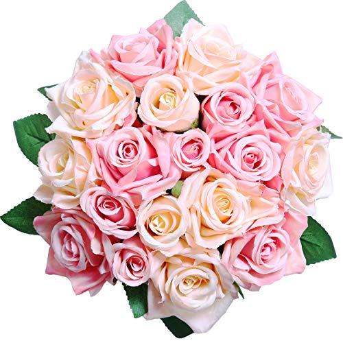 Pauwer Flores Artificiales Deco Flores Falsas Rosas de Seda Plástico 2 Piezas 18 Cabezas Ramo de Novia para el jardín de…