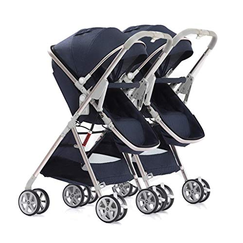 BGTRRYHY Doppel-Baby-Kinderwagen, leicht, faltbar, kann sitzen und abnehmbar, 2-Wege-Baby-Kinderwagen