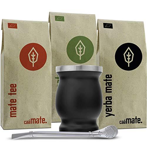 Mate Tee Set Bio ● 3 Matesorten + doppelwandiger Edelstahl Matebecher + Bombilla + Zubereitungsanleitung (schwarz)