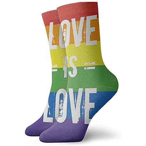 Be-ryl Regenbogen Gay Pride Flagge gedruckt Liebe ist Liebe Mode Kurze Crew Tube Socken Casual Sportsocken