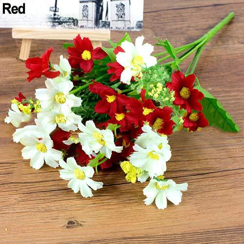 ypypiaol 1 Ramo 28 Cabezas Artificiales Margarita Tela De Seda Flor Dulce Decoración Del Banquete De Boda rojo