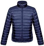 ダウンジャケット メンズ 軽量 暖かい ウルトラライト ダウン コート コンパクト収納 おしゃれ ライト 防風 防寒 撥水 収納袋付き 立ち襟 ネイビー XL