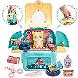Buyger 3 en 1 Maletin Veterinario Juguete para Niños Gatos Cuidado de Mascotas Juegos Peluqueria Animale Juguetes Educativos Juegos de rol para Niños Niñas 3 4 5 Años