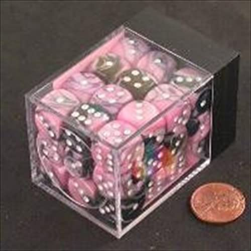 Chessex Manufacturing 26830 D6 Cube Gemini Set Of 36 Dice, 12 mm - schwarz & Rosa With Weiß Numbering by Chessex Manufacturing