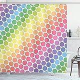 Alvaradod Polka Dots Home Decor Duschvorhang Set,Polka Dots in weichen Regenbogenfarben Große Punkte Ewige Formen Retro Kunstvolles Muster,Badezimmerzubehör,Multi mit 12 Kunststoffhaken 180x180cm