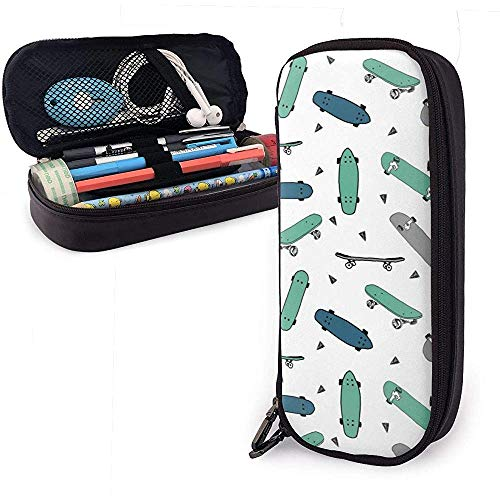 Groen Blauw Skateboard Pencil Case Stationery Organizer Multifunctionele Cosmetische Make-up Bag Dubbele Rits Leer