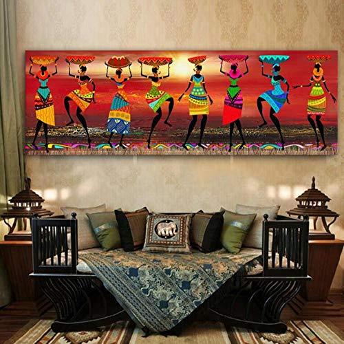 Wwjwf Cuadro Étnico Tribal Arte Pinturas Africanas Mujeres Bailando Pintura Al Óleo Imagen Para Sala Lienzo Impresión Decoración Del Hogar 50X150 Cm Sin Marco