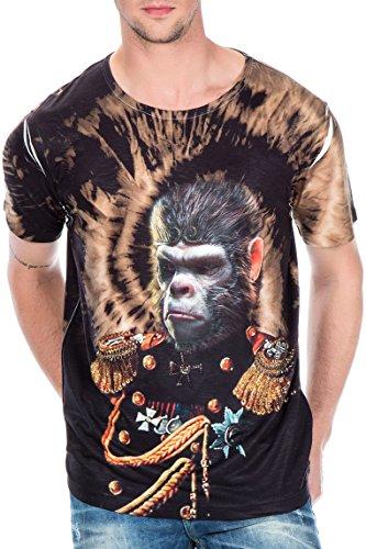 Cipo & Baxx T-Shirt Herren Slim Fit mit Rundhalsschnitt Baumwolle (XL, Schwarz)
