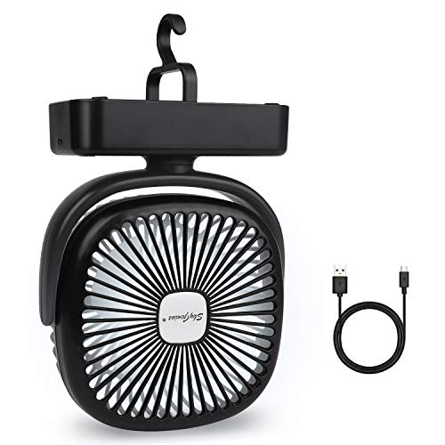 Portable LED Camping Lattern with Tent Fan, 5000mA Battery Operated Fans Mini Desk Fan for Office Home Kitchen