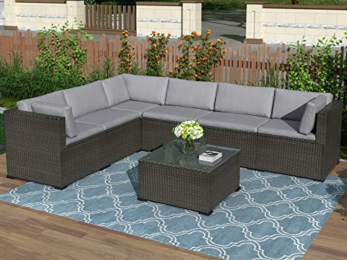 7-Piece Patio Furniture Set Outdoor Sectional Conversation Set with Soft Cushions (Black)