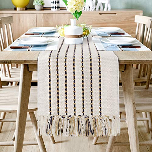 Sxuan Table Runner 180x35cm, Cotton Hand Woven Washable Table Décor with Tassels for Dining Room, Wedding, Banquet, Holiday, Outdoor Parties