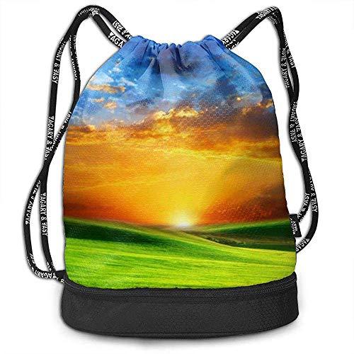 Archiba Sac à Dos à Cordon avec Poche Multifonctionnel Robuste Sunrise Greenland Sackpack Sports Gym Épaule String Bags