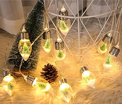 Ousyaah Cadena de Luces LED, 2M 10 LED Cadena de Luz de Bombilla, Cadena de luz de árbol de Navidad, Decorativas Guirnaldas Luminosas para Fiesta de Navidad,Interior,Jardines,Boda  Funciona con Pilas