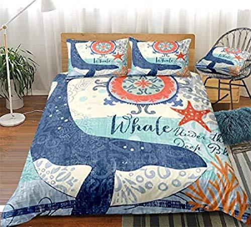 HUA JIE Grey Bedding Sets,Blue Whale Duvet Cover Set Boho Whale Bedding Blue Ocean Whale And Chic Boho Printed Design Marine Ocean Bedding Sets Duvet Cover Set Pillowcases