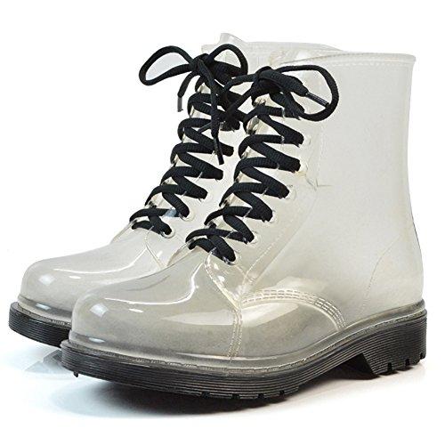 Colleer Women Waterproof Rain Ankle Boots, Transparent Martin Rain Bootie Outdoor Fashion Rain Shoes Jelly Lace-Up Rain Shoes Black