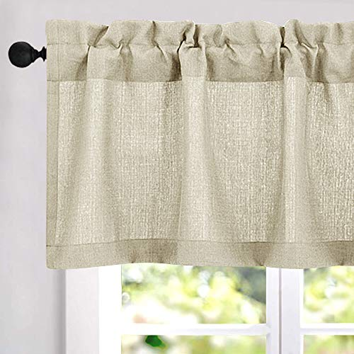 18 inch Valances for Windows Privacy Casual Weave Semi Sheer Kitchen Curtain Valance (54' x 18', Beige, 1 Panel)