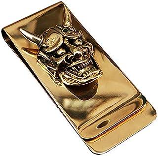 Yuri Brass Skull Hannya Pendant Slim Cash Money Clip Wallet Credit Card Holder Accessory Handwork Mens Gift