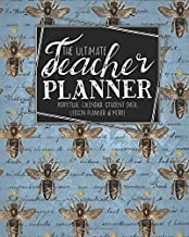 The Ultimate Teacher Planner Perpetual Calendar, Student Data, Lesson Planner & More: Bumblebee Bee | School Education Academic Planner | Teacher ... Gift | Honeycomb Hive Queen |Ephemera