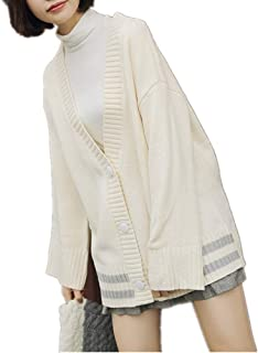 YXHM A Ladies Knit Fashionable line Put Cardigan Cape School Sweater Warm Autumn Clothes Cut Outer Coat Jacket Nittoso Long-Sleeved Loose Type Cover Large Size Autumn New (Color : White, Size : M)