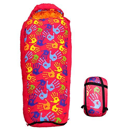 MCLJR Schlafsack Für Kinder,Versenkbarer Schlafsack, Hohle Baumwollpolsterung-3-15 ° C, Kompressions-Tragetasche Inklusive, Ideal Zum Zelten, Wandern,Rot
