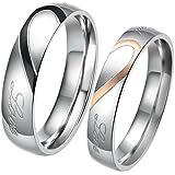 JewelryWe Anello Rotondo Coppia per Fidanzati,Real Love, con Zircone, Colore Nero/Oro Rosa