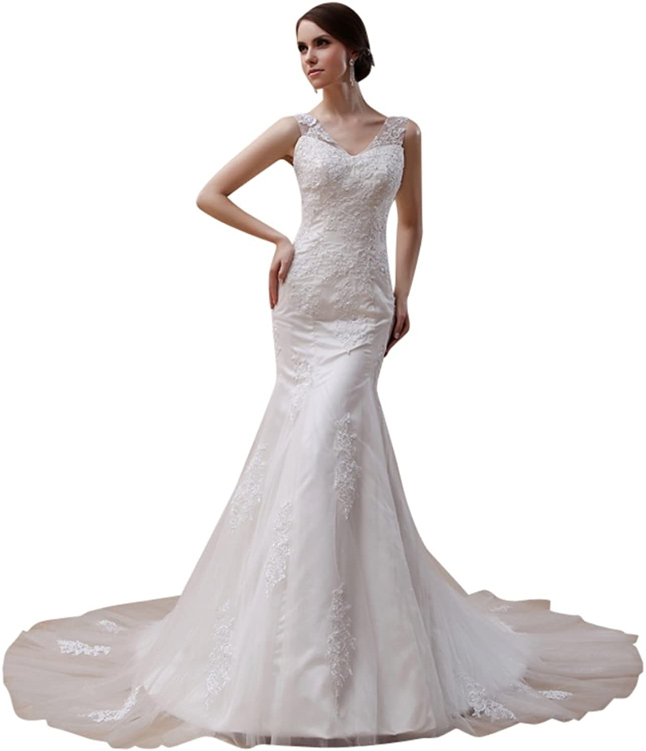 HUICHENGYAO Women's V Neck Appliques Mermaid Wedding Dress Beaded Bridal Gown