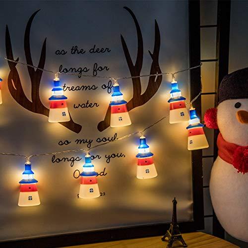 Lichtketting, Kerstmis, vuurtoren, batterijvorm, explosie, slingers, voor slaapkamer, tuin, party, festival, binnendecoratie, 6 m