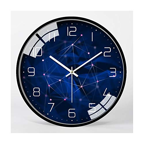 XMBT Vintage Style Wecker-Farbige niedliche Retro-Art-Uhr Runde hängende Uhr ohne tickendes stilles Kehren Sekunden große Wanduhr Ticking Retro Wanduhr,Size:14inch
