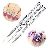 JUNGEN 3pcs Kit de decoracion de uñas Cepillo de detalle de uñas para Dibujando patrones...