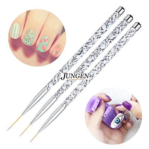 JUNGEN 3pcs Kit de decoracion de uñas Cepillo de detalle de uñas para Dibujando patrones de linea Pincel de uñas de gel con Diseño de pincel de punta Accesorios de uñas 11/15/20mm ⭐