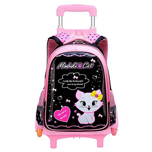 PROTAURI Trolley para Mochila para niñas - Mochila para niños Princess Schoolbag Mochila con Ruedas de 6 Ruedas con un Lindo Gato