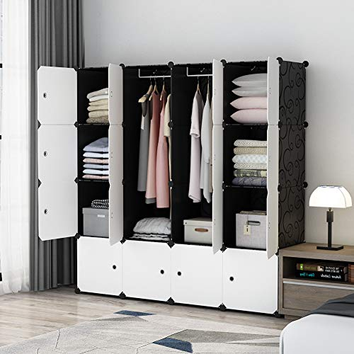 "MAGINELS Portable Wardrobe Closets 14""x18"" Depth Cube Storage, Bedroom Armoire, Storage Organizer with Doors, 16 Cubes, Black"