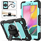 Samsung Tab A 8.0 Case 2019 (Model SM-T290/T295/T297), [Full-body] Drop Proof Hybrid Armor Protect Case with 360 Rotating Stand & Hand Strap [Pen Holder] for Galaxy Tab A 8.0 2019 (Skyblue+Black)