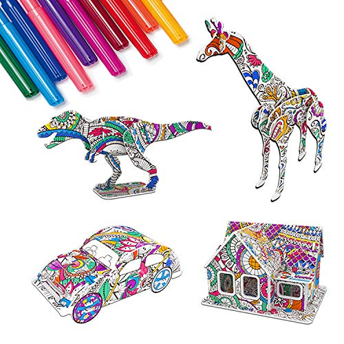 3D Coloring Puzzle Set,4 Pcs Puzzles with 12 Pen Markers, Art Coloring Painting 3D Puzzle for Kids Age 6 7 8 9 10 11 12. Fun Creative DIY Toys for Girls and Boy Gift
