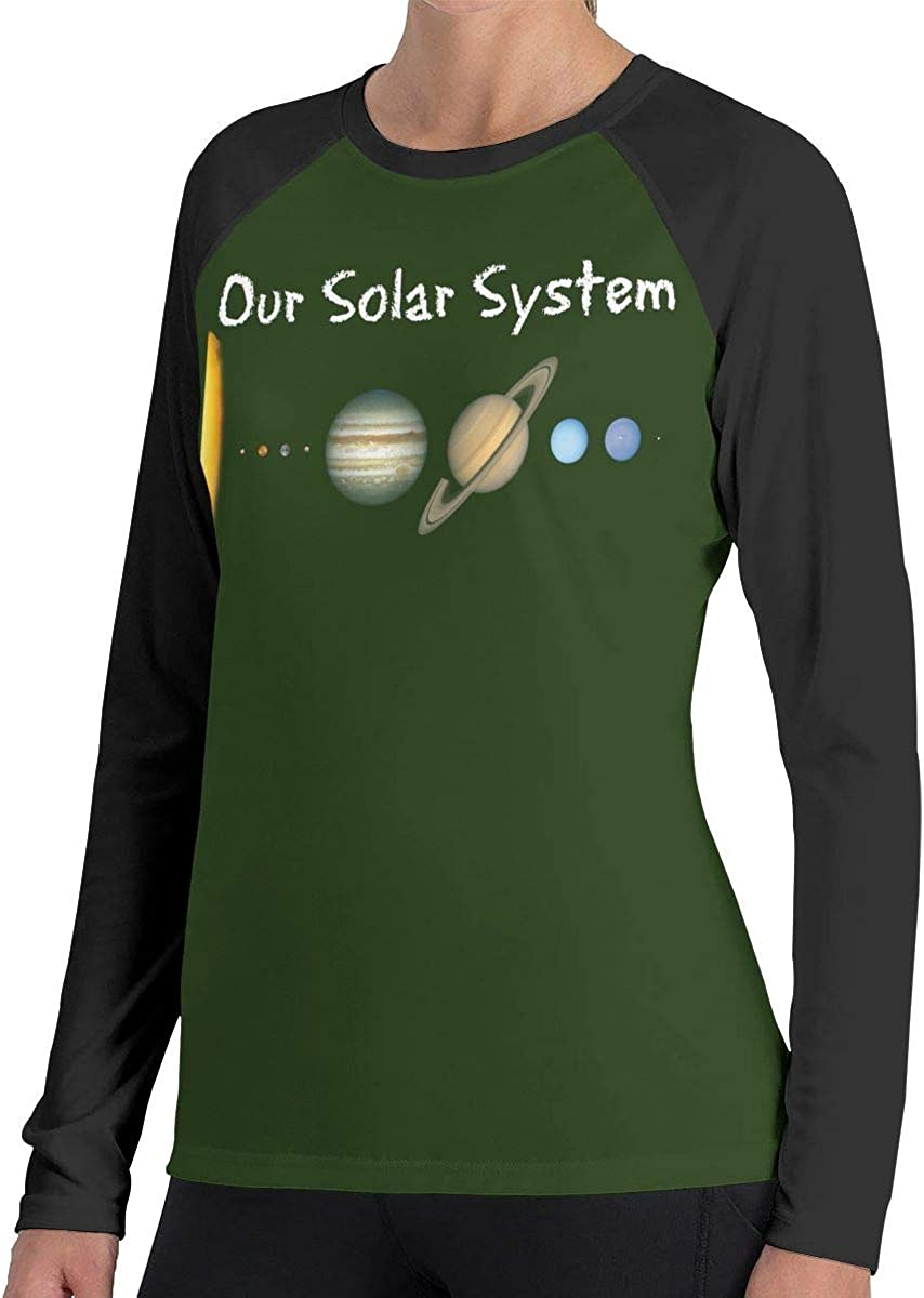LLiYing-D Solar System Planets Space Science Astronomy Womens Fashion Long Sleeve T Shirt